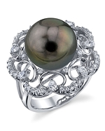 Tahitian South Sea Diamond & Pearl Barbara Ring