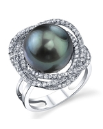 Tahitian South Sea Pearl & Diamond Braided Ring