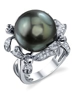 Tahitian South Sea Pearl & Diamond Flower Ring