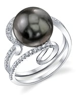 Tahitian South Sea Pearl & Diamond Ivy Ring