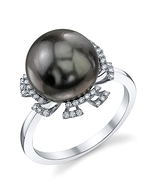 Tahitian South Sea Pearl & Diamond Miley Ring