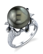 Tahitian South Sea Pearl & Diamond Robin Ring