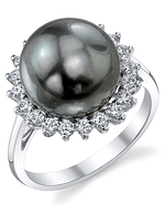 Tahitian South Sea Pearl & Diamond Sage Ring