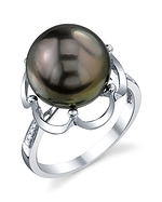 Tahitian South Sea Pearl & Diamond Virginia Ring