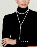 8-9mm White Freshwater Pearl & Diamond Adjustable Y-Shape Necklace- AAAA Quality - Secondary Image