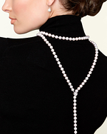 8-9mm White Freshwater Pearl & Diamond Adjustable Y-Shape Necklace- AAAA Quality - Model Image