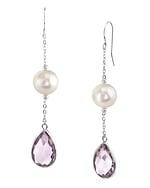 Freshwater Pearl & Amethyst Sophia Tincup Earrings