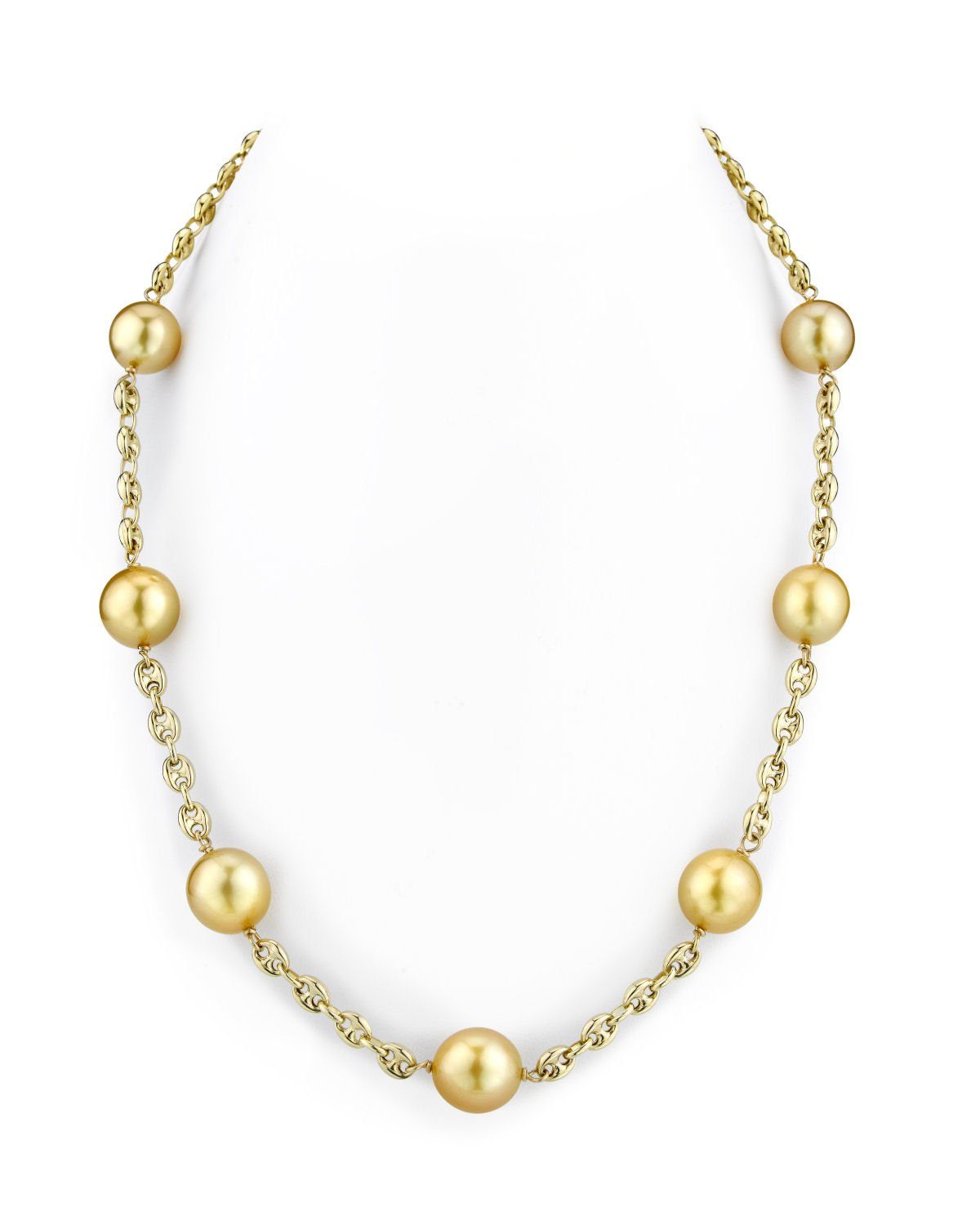 14K Gold Tincup Necklace with 10-11mm Dark Golden Pearls