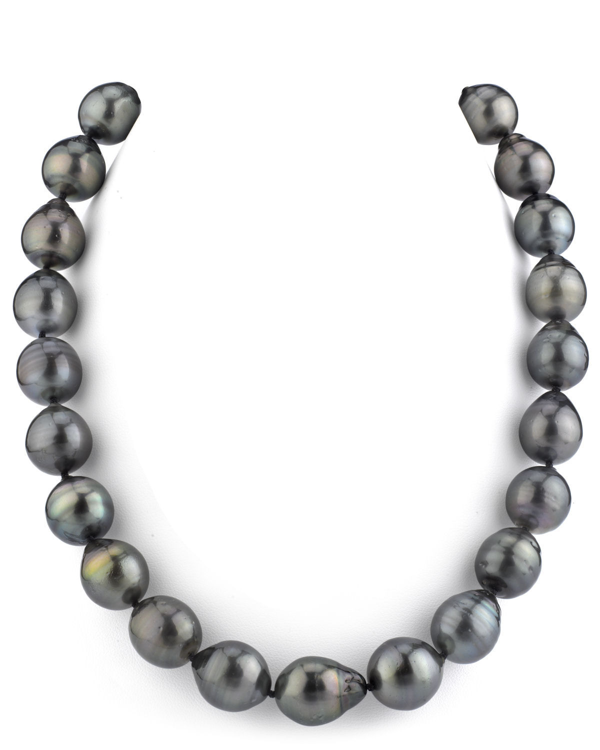 14-15.7mm Tahitian South Sea Multicolor Drop-Shape Pearl Necklace