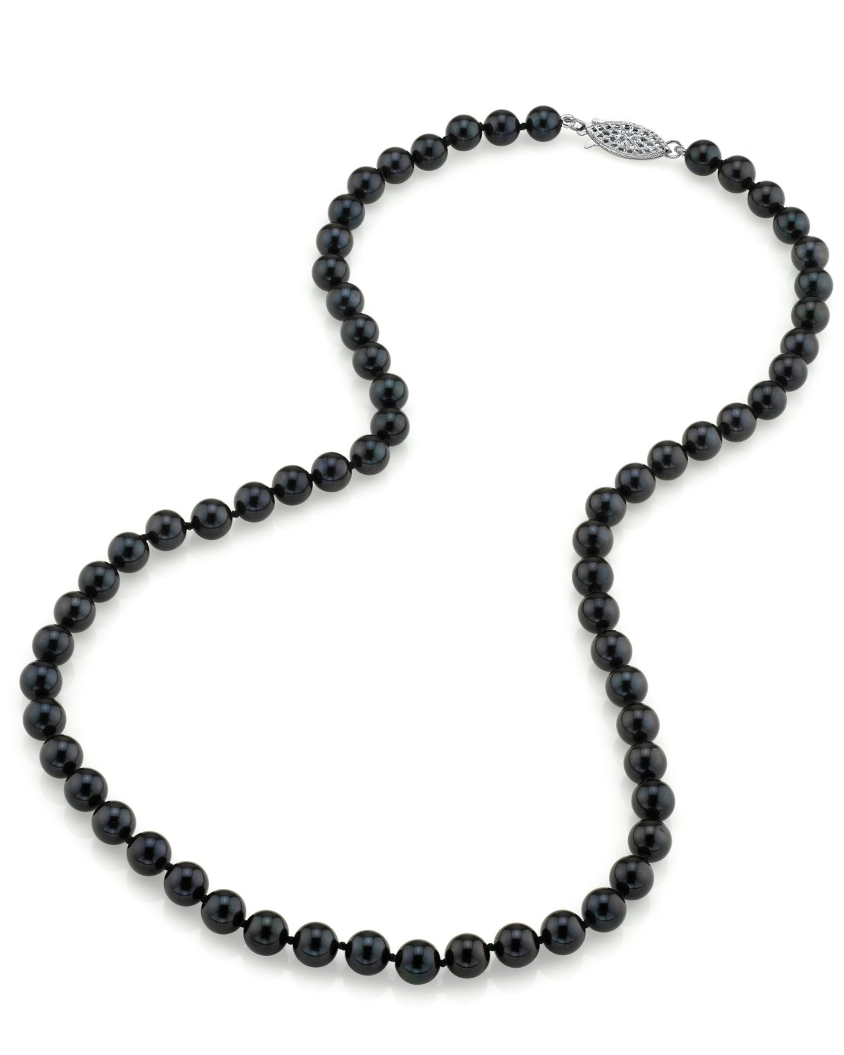 903e9f3d5f5309 6.0-6.5mm Japanese Akoya Black Pearl Necklace- AA+ Quality