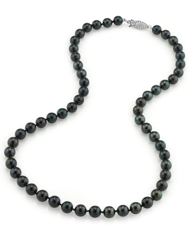 9d71eff60eab40 7.0-7.5mm Japanese Akoya Black Pearl Necklace- AAA Quality