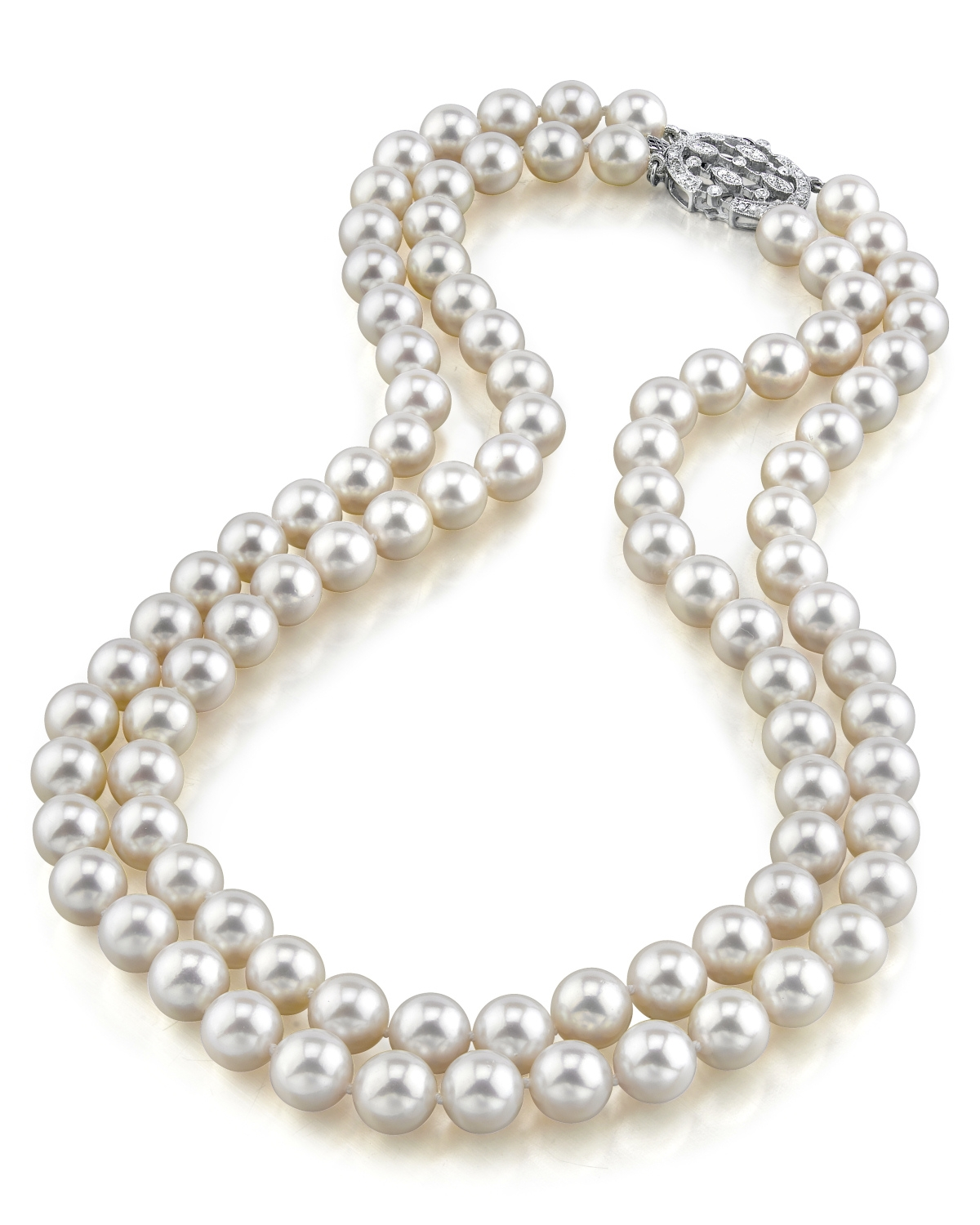 Japanese akoya white pearl double strand necklace for White pearl