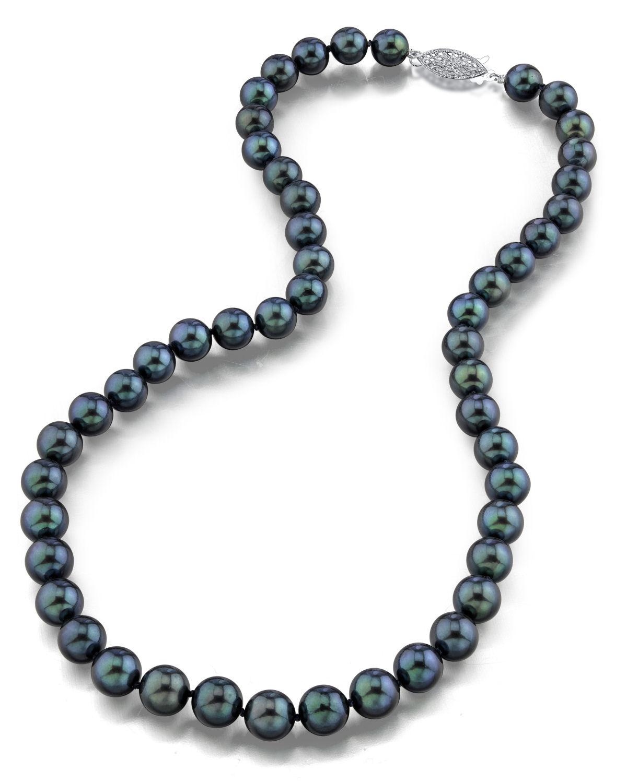 14k gold 8 0 japanese akoya black cultured pearl. Black Bedroom Furniture Sets. Home Design Ideas