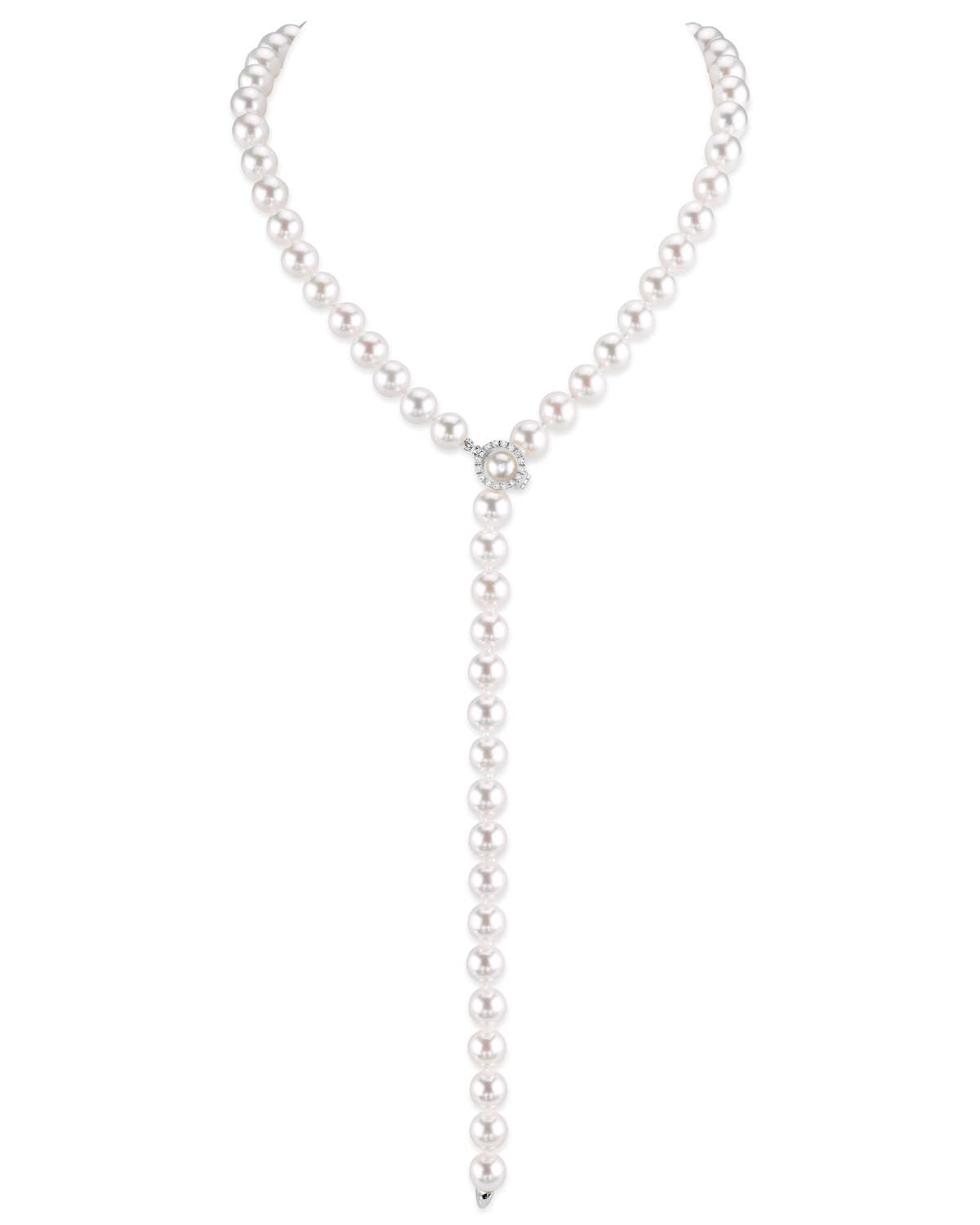 8-9mm White Freshwater Pearl & Diamond Adjustable Y-Shape Necklace- AAAA Quality