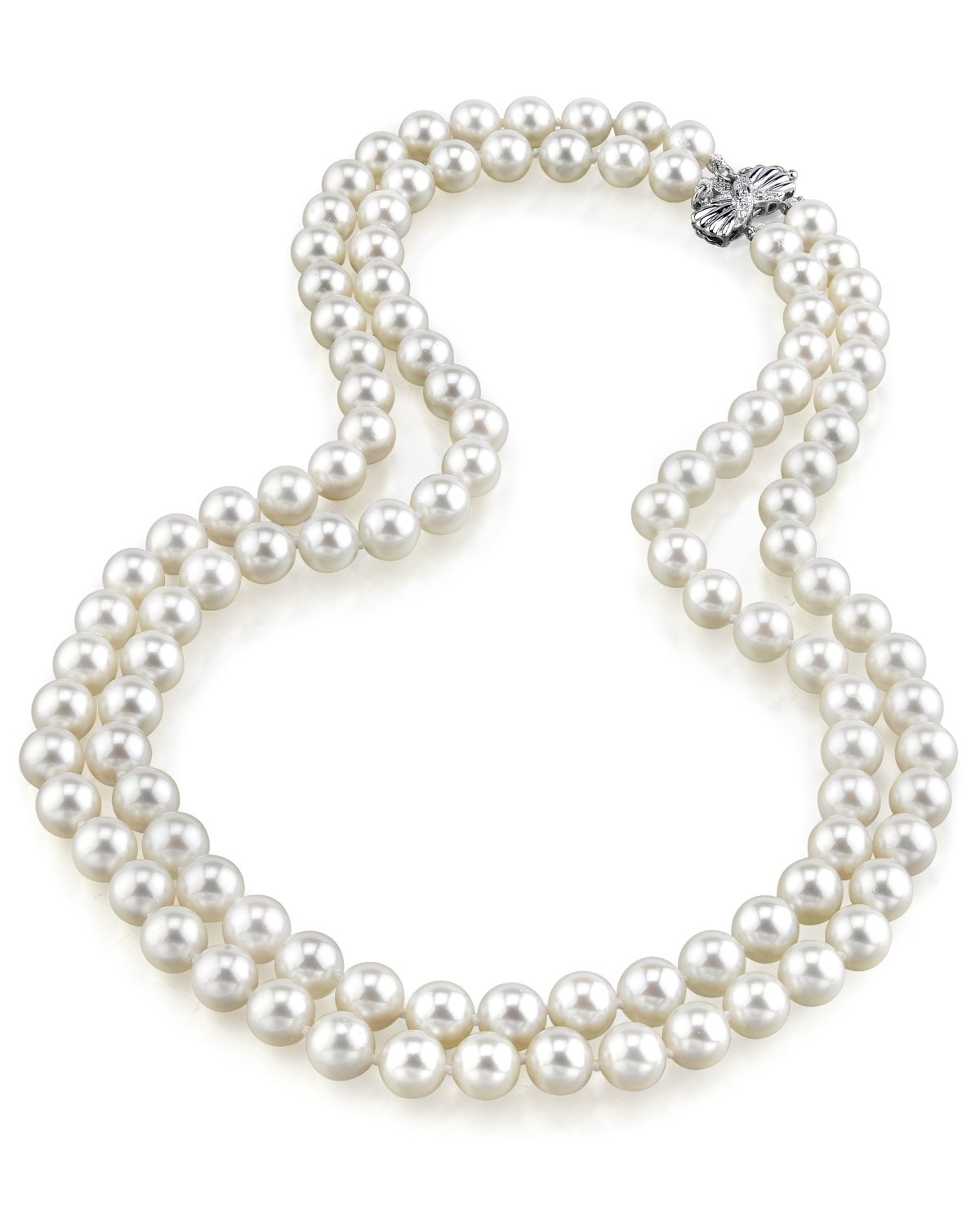 8-9mm Double Strand White Freshwater Pearl Necklace