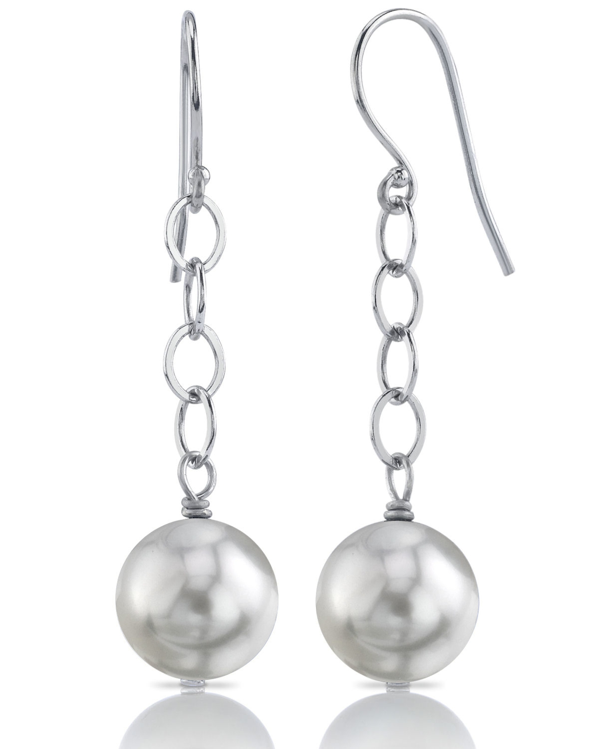 South Sea Round Pearl Dangling Tincup Earrings