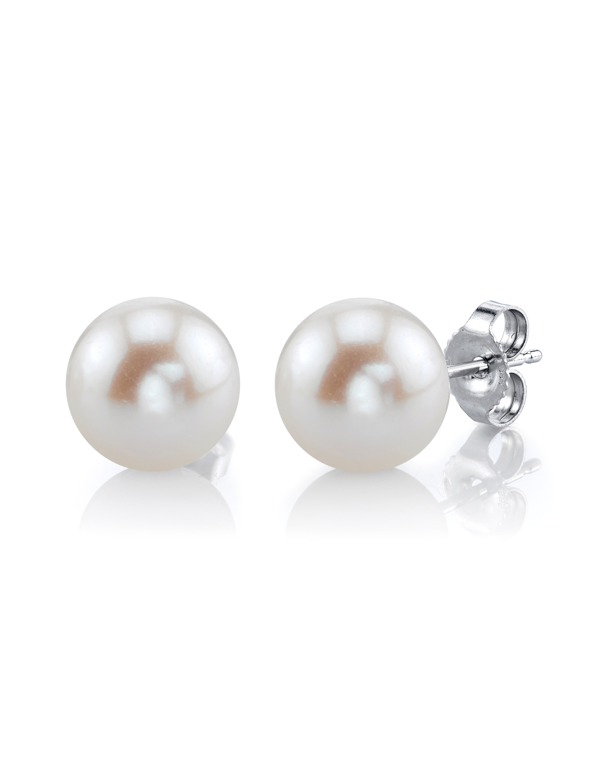 7mm White Freshwater Pearl Stud Earrings - Premiere Quality