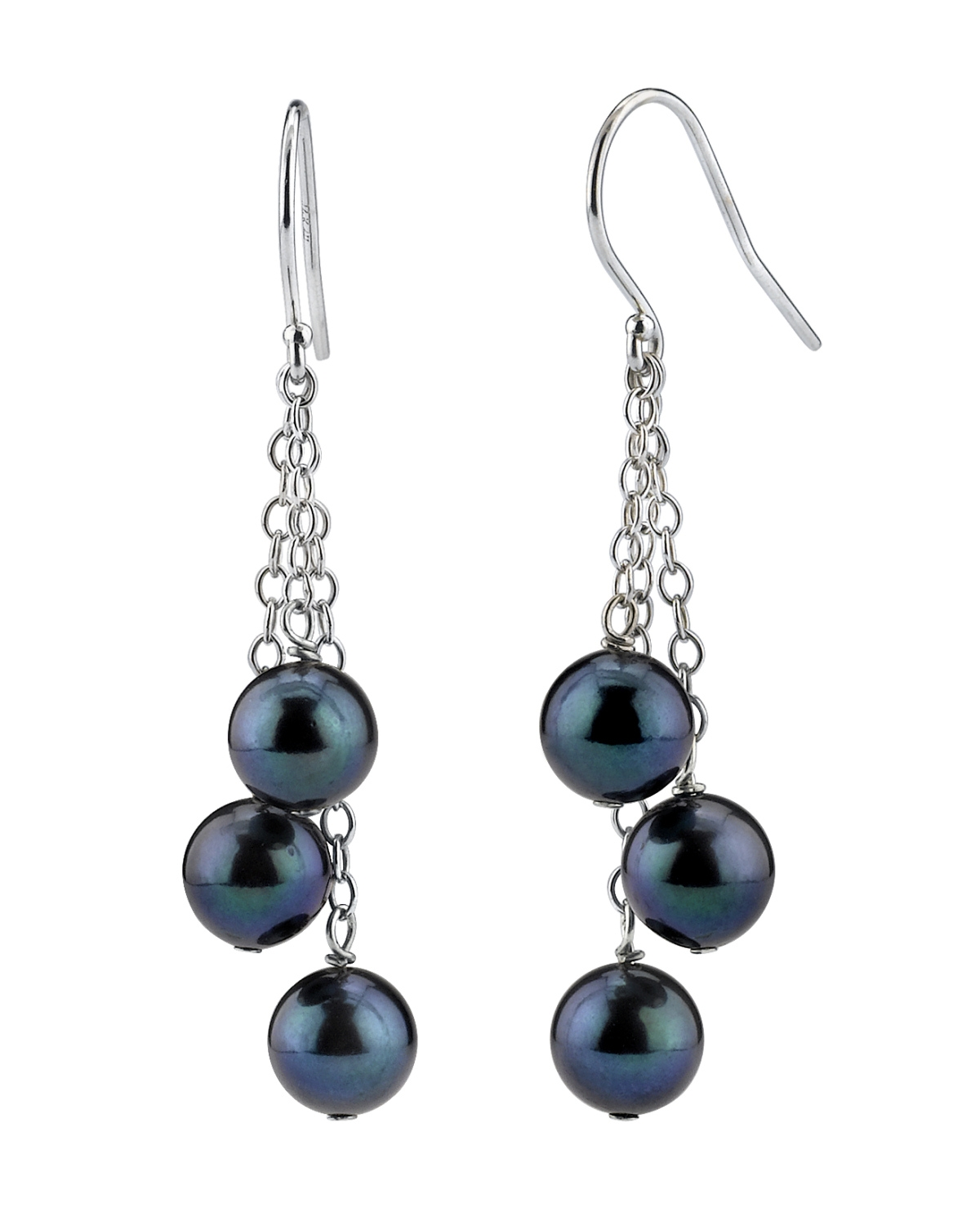 Black Akoya Pearl Cluster Earrings