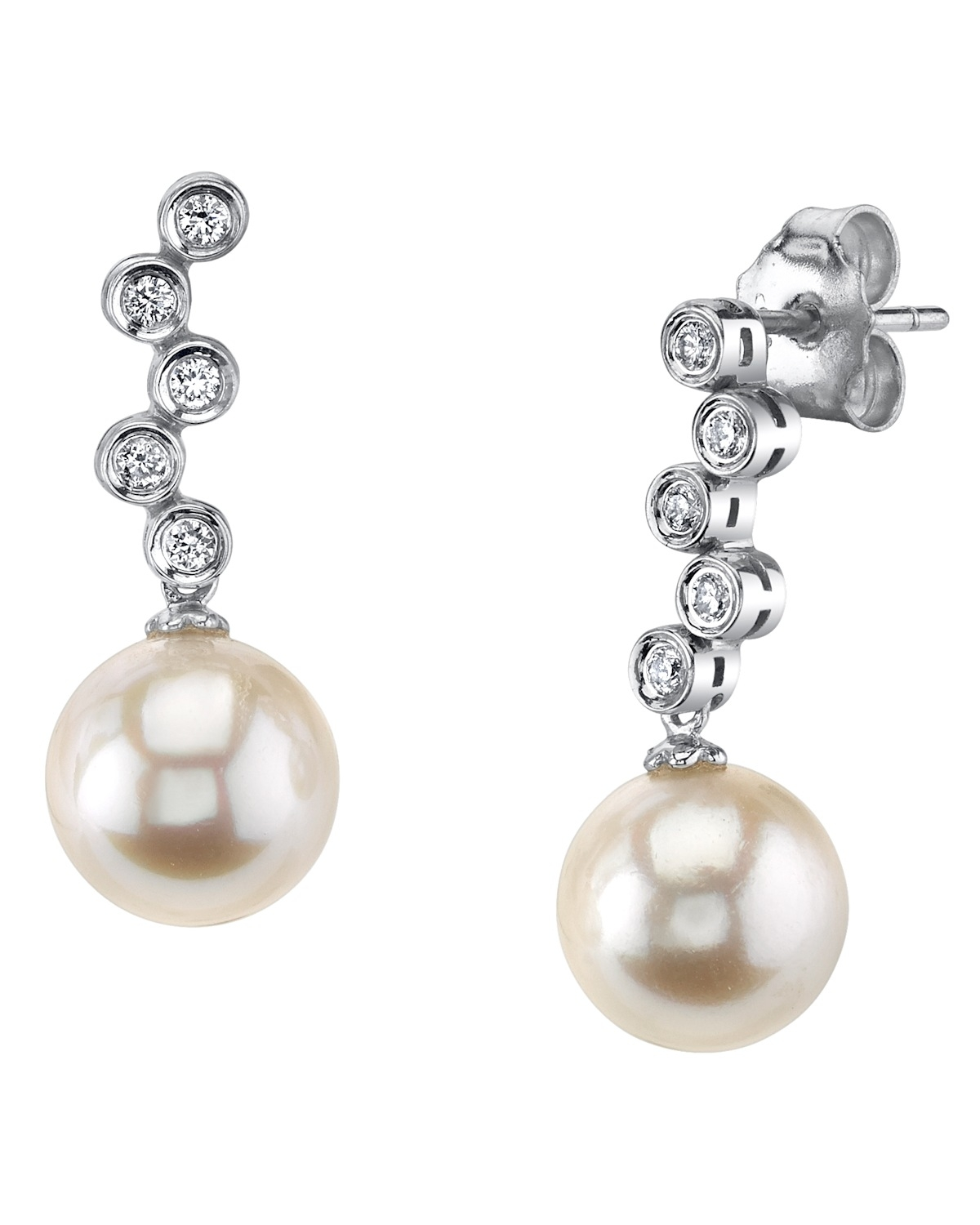 White Akoya Pearl & Diamond Wendy Earrings