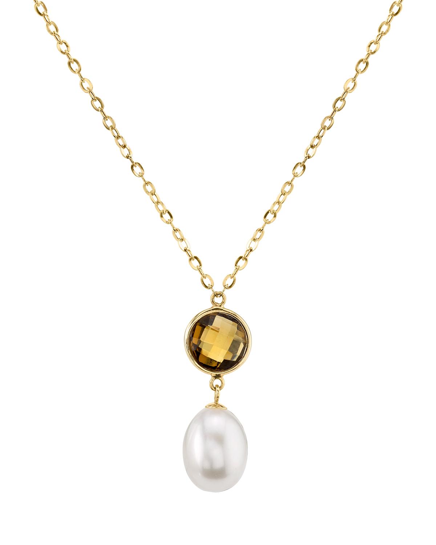 69492614a9ca3 14K Gold Drop-Shape Freshwater Cultured Pearl & Quartz Savanah Pendant