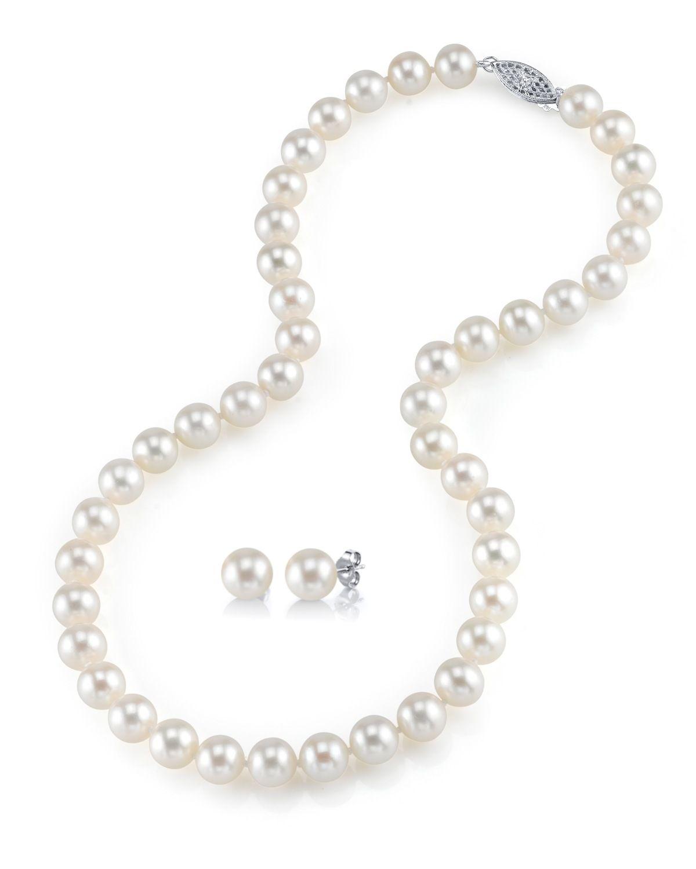 43e4e716b 7-8mm Freshwater Pearl Necklace & Earrings