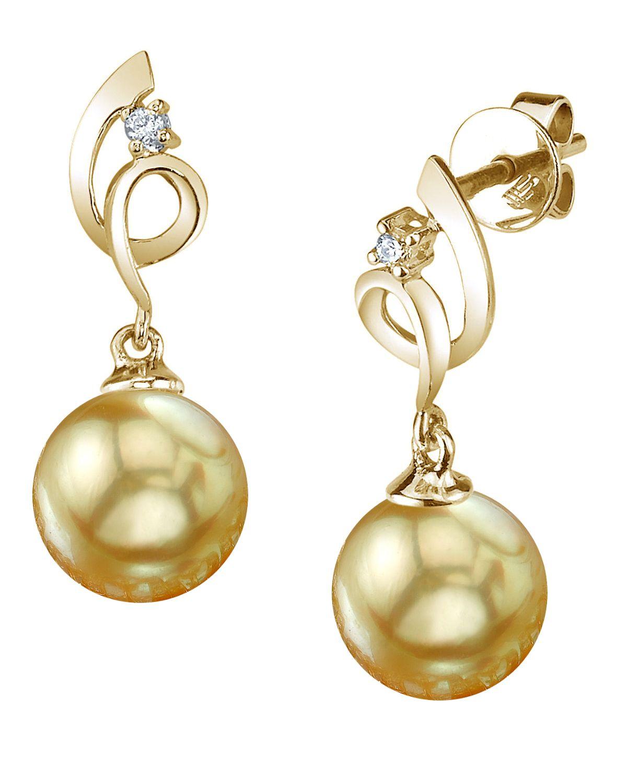 0aab6de64 ... Gold Color 14k White. Golden Pearl Diamond Symphony Earrings