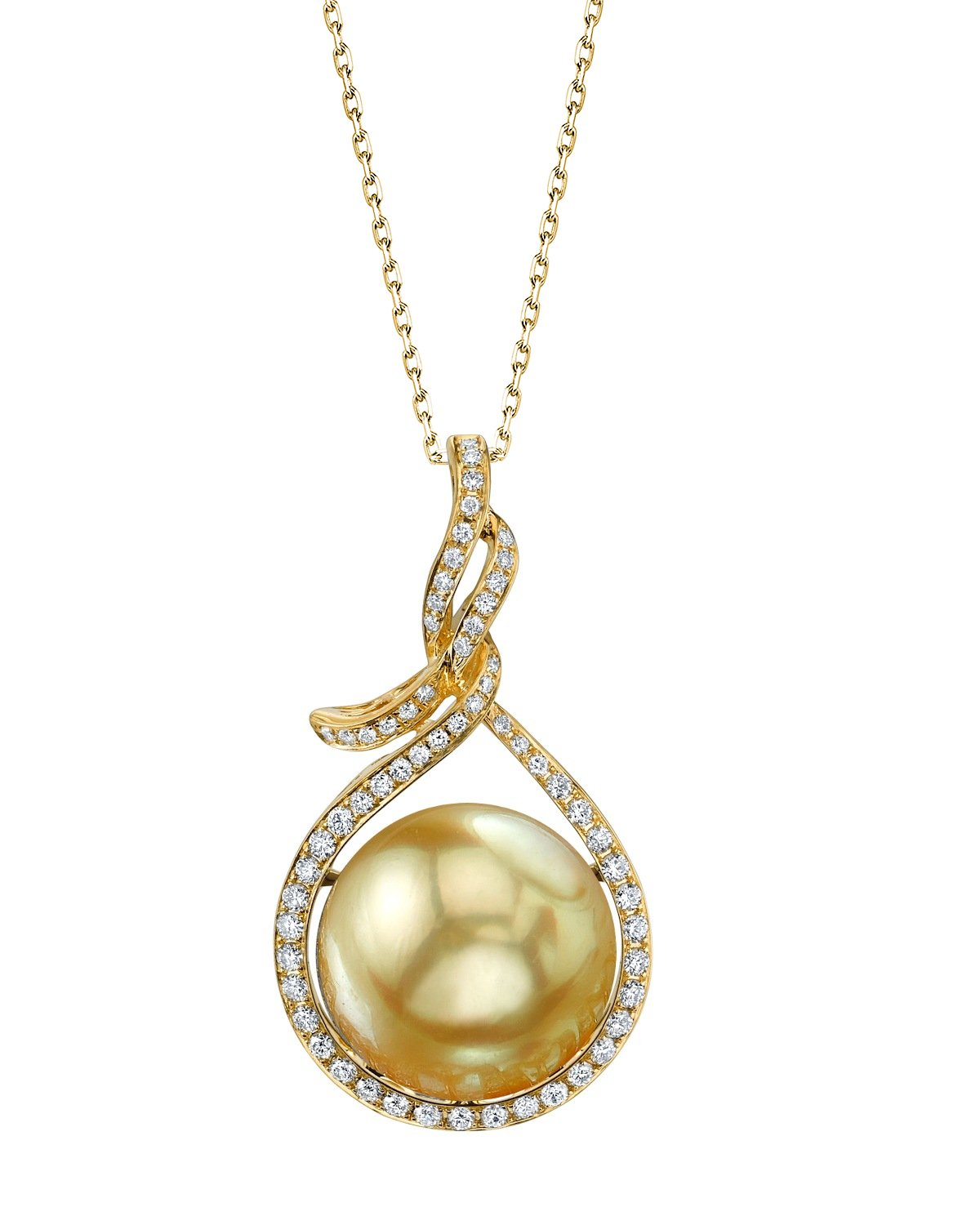 14mm Golden South Sea Pearl & Diamond Agnes Pendant