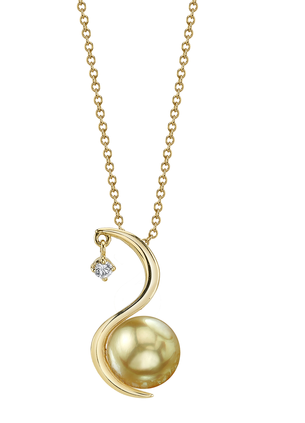 Golden South Sea Pearl & Diamond Ellis Pendant