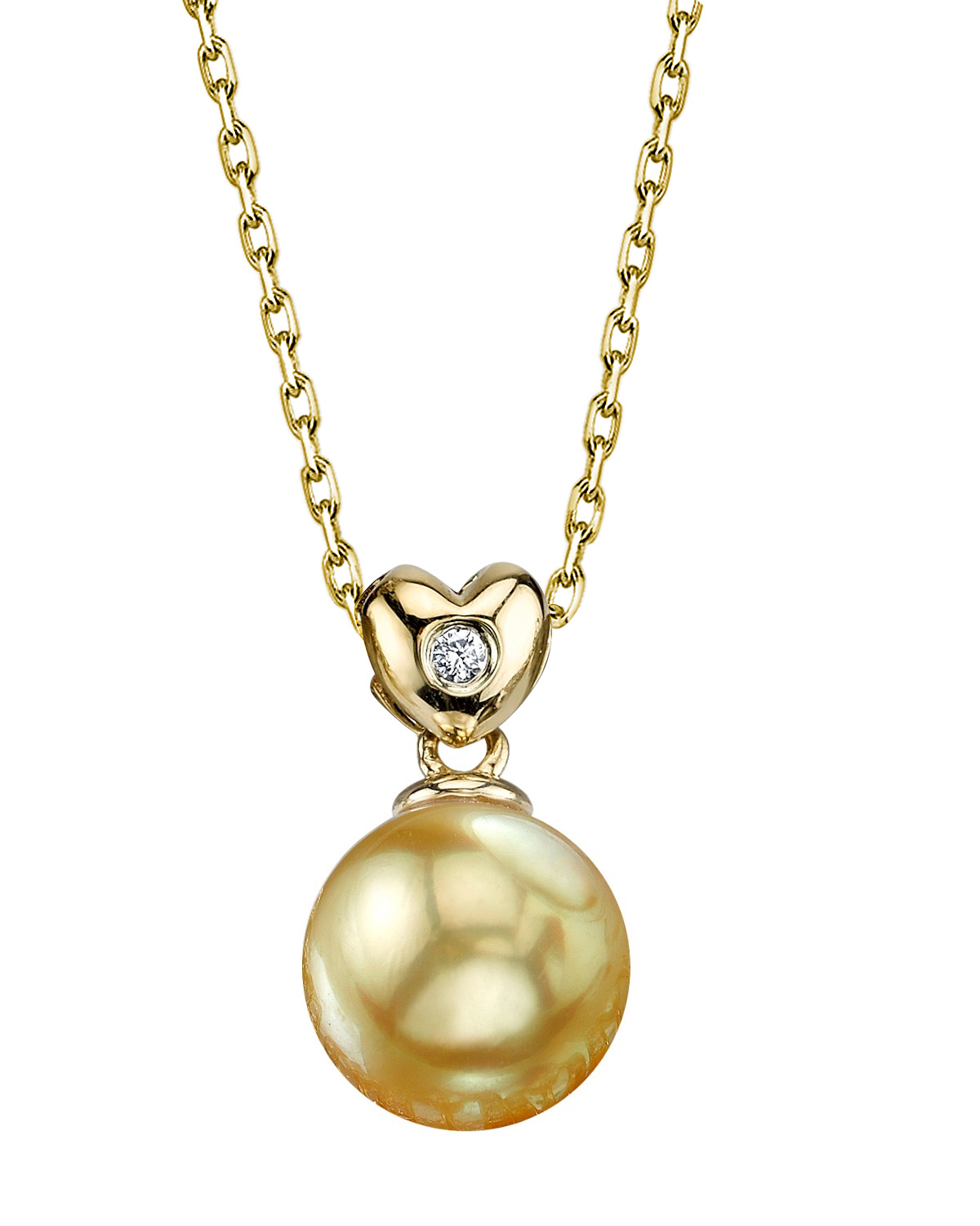 Golden Pearl & Diamond Lev Pendant