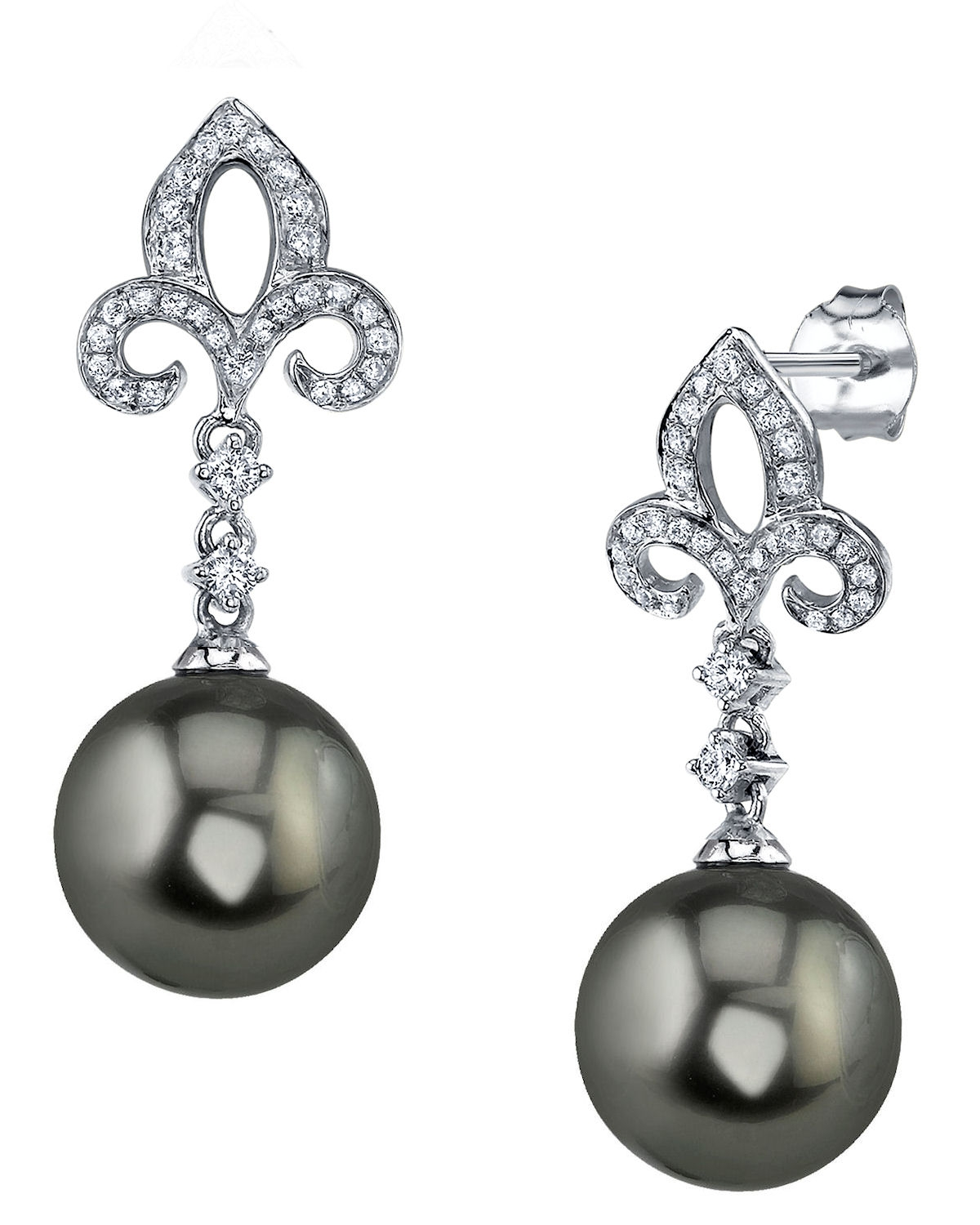 Tahitian South Sea Pearl & Diamond Caroline Earrings