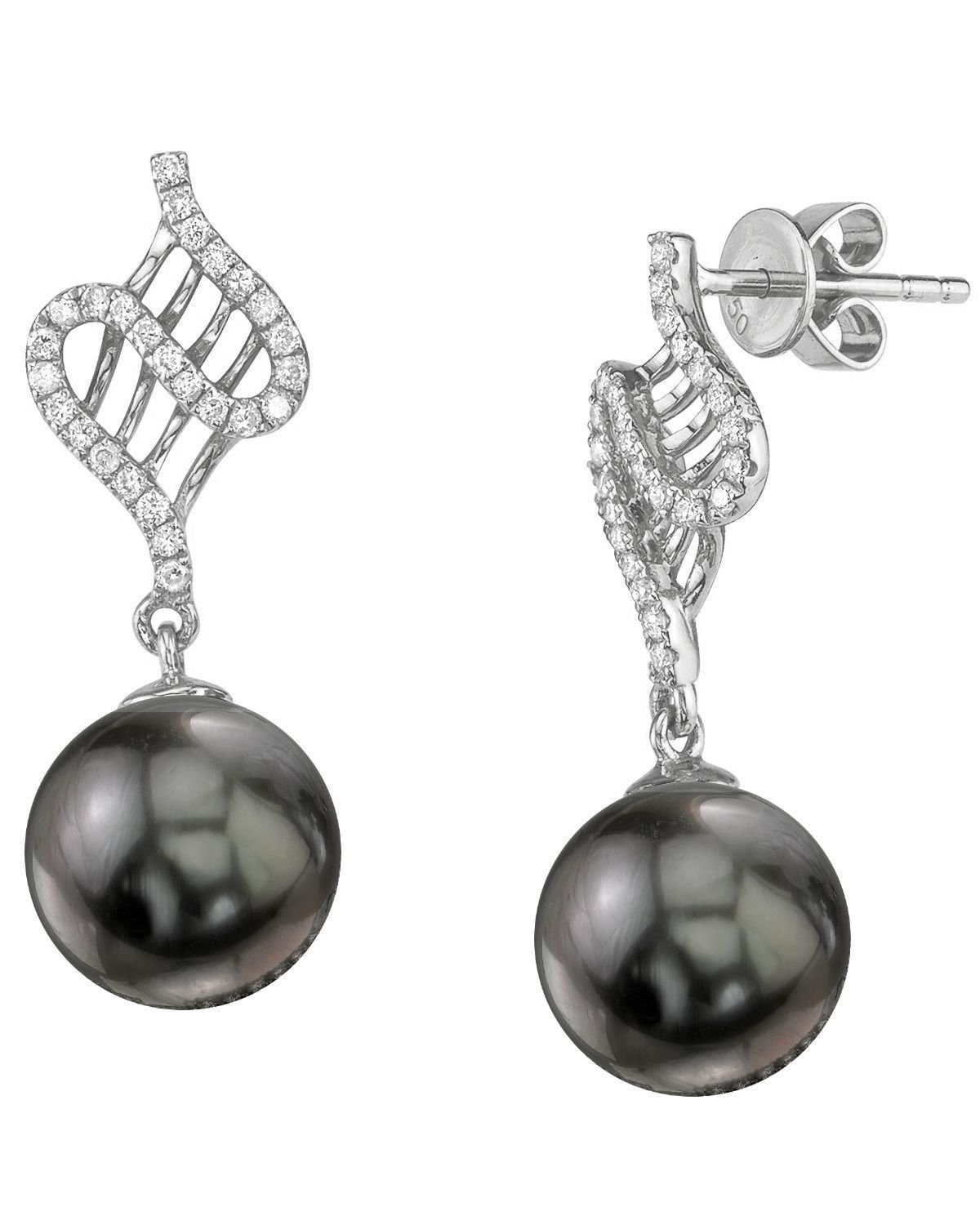 Tahitian South Sea Pearl & Diamond Nancy Earrings
