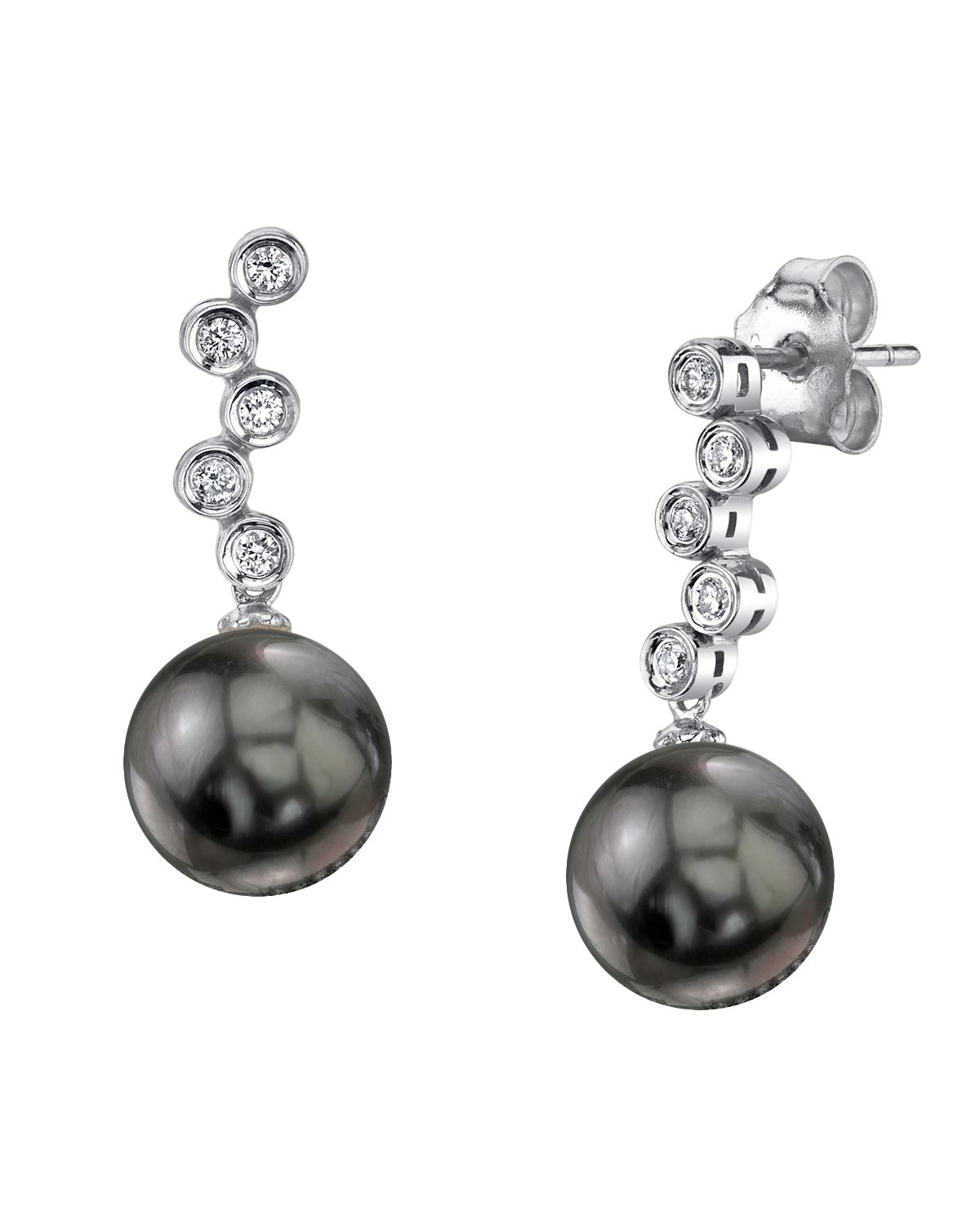 Tahitian South Sea Pearl & Diamond Wendy Earrings
